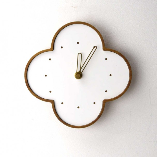 wall clock L-teak-w